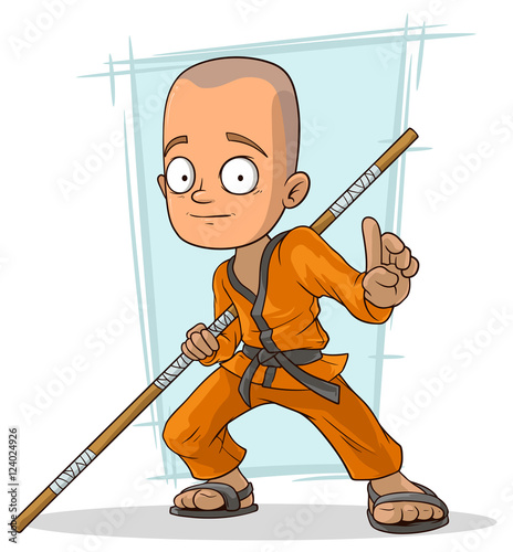 Fotografering  Cartoon young kung fu Buddhist with stick