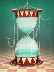 Conceptual illustration of fantasy poster with hourglass and water inside
