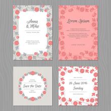 Wedding Card Set With Flower. ...