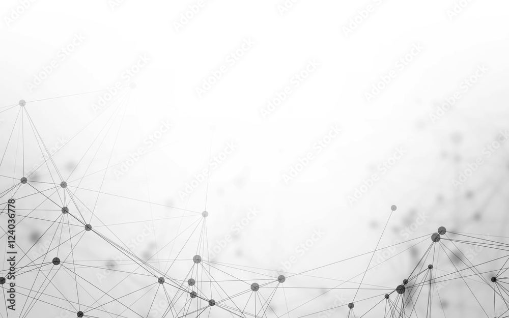 3D Abstract Polygonal White Background with Low Poly Connecting Dots and Lines - Connection Structure - Futuristic HUD Background