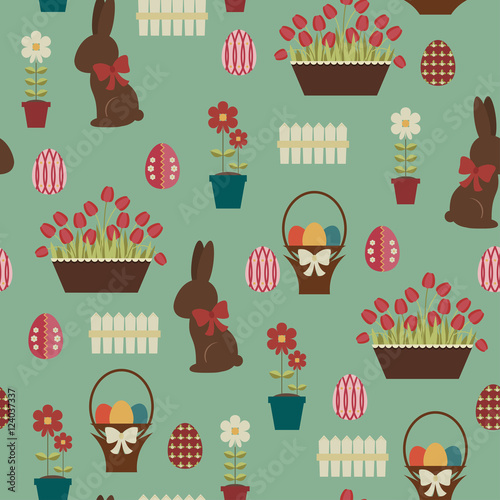 Cotton fabric Easter seamless pattern. Chocolate bunny and decorated eggs in a