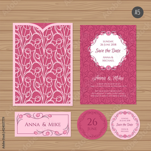 Wedding Invitation Or Greeting Card With Flower Ornament Paper Lace