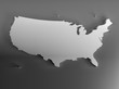 Real 3D shape white silver map of USA on gray background. High-resolution 3d illustration. Top view