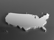Real 3D shape white silver map of USA on gray background. High-resolution 3d illustration. Perspective view
