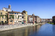 Girona picturesque small town with Colorful houses and ancient C