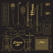 Vector Rock Music Instruments. Stylized Geometric Flat Line Illustration Musical Kit For Icon, Banner, Poster, Flyer Design. Drums, Electric Guitar, Bass, Microphone, Keyboard Illustration Set.
