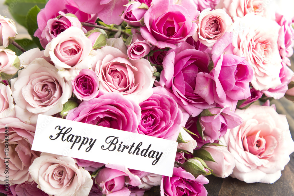 Happy Birthday Card With Bouquet Of Pink Roses Foto Poster Wandbilder Bei EuroPosters