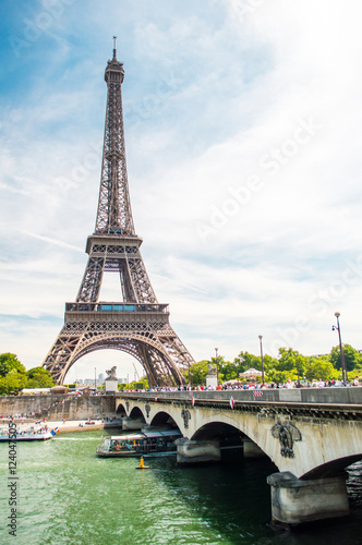 Eiffel Tower, bridge and Seine river view in Paris