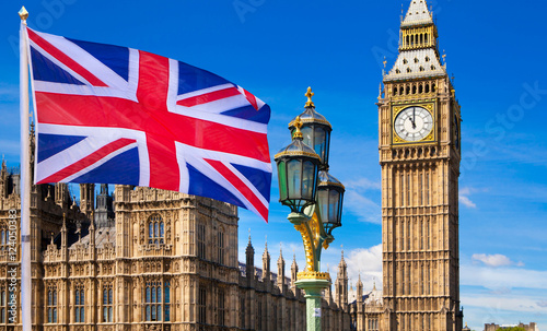 Slika na platnu House of Parliament and British flag