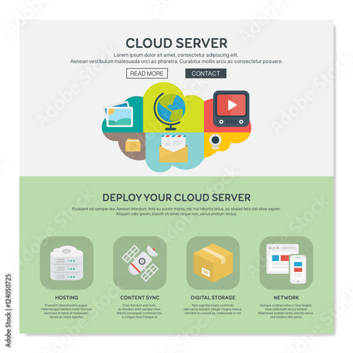 One page web design template of cloud hosting provider service ...