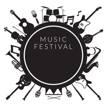 Music Instruments Objects Label Silhouette Background, Festival, Event, Live, Concert