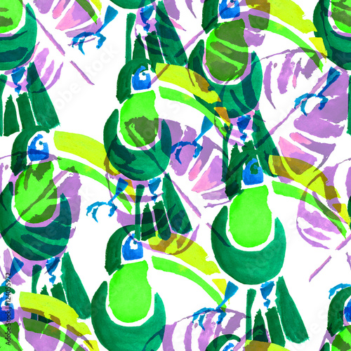 Foto op Canvas Draw Watercolor seamless pattern. Tropical animals.