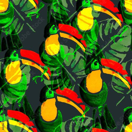 Foto auf AluDibond Ziehen Watercolor seamless pattern. Tropical animals.