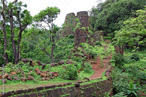 Papiers peints Fortification Ruins of turret and other structures of Cabo de Rama Fort in Goa, India. A centuries old fort, last owned by the Portuguese during their occupation of Goa.