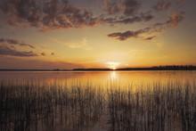 Sunset On A Lake; Saskatchewan...