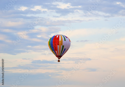 Hot Air Balloon In Flight; St. Jean Sur Richelieu, Quebec, Canada