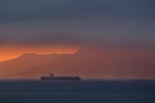 Cargo Ship Passing Through Straits Of Gilbraltar, Tarifa, Cadiz, Andalusia, Spain