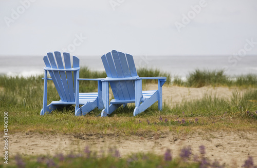 Two Blue Adirondack Chairs On A Grassy Beach; Oregon, United States of America