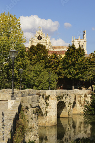 Puentecillas A Reformed Roman Bridge In The 16Th Century Built Over The River Carrion With Cathedral Of Palencia In Background; Palencia, Castile-Leon, Spain