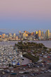 San Diego Skyline With Harbor Island Boats In The Foreground; San Diego, California, United States of America