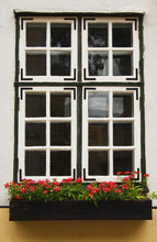 Window And Flower Box In The Old Town Of Riga; Riga, Latvia