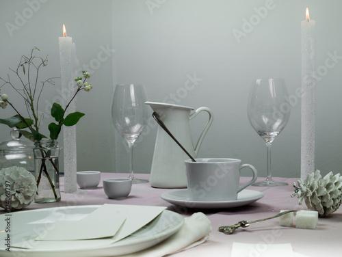 still life  elegant table setting  tablecloth, candles