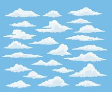 Cartoon Cloud Vector Set. Blue...