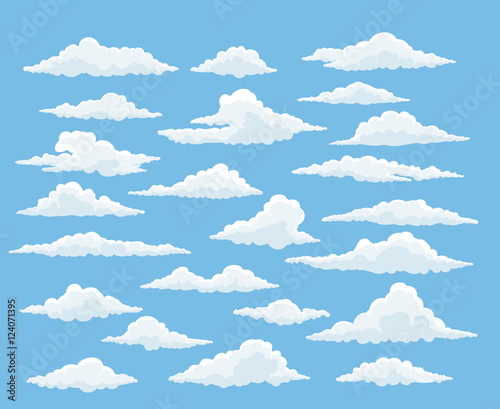 Obraz Cartoon cloud vector set. Blue sky with white clouds - fototapety do salonu