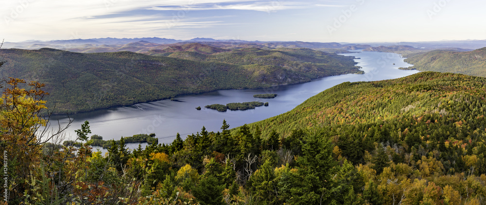 Fototapety, obrazy: Lake George Autumn Panorama from Black Mountain