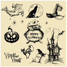 Halloween Vector Collection.Hand Drawn Illustration.Line Art. Doodle.