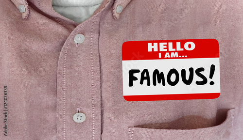Valokuva Famous Celebrity Hello Name Tag VIP Fame 3d Illustration