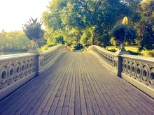 Walkway Of Bow Bridge In Vintage Style At Central Park, Manhattan, New York