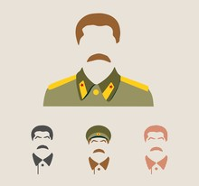 Collection Of The Vector Portraits Of Joseph Stalin. Soviet Union Leader.