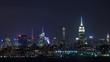 New York City Manhattan Skyline Night Timelapse