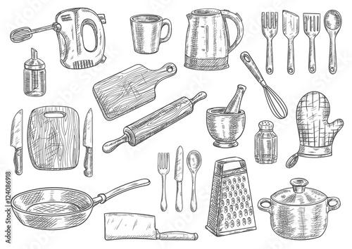 Fotografia, Obraz Kitchen utensils and appliances isolated sketches