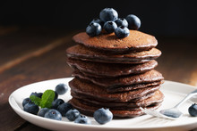 Chocolate Pancakes With Fresh Blueberry