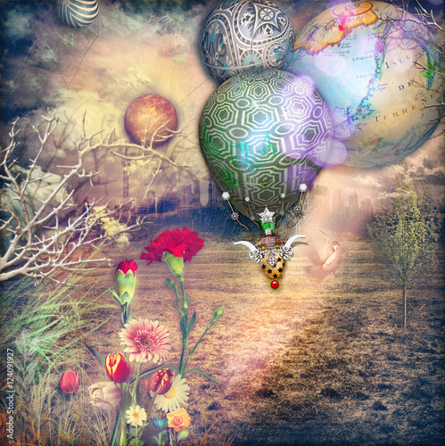 Wall Murals Imagination Fairytales country with hot air balloon and red carnations