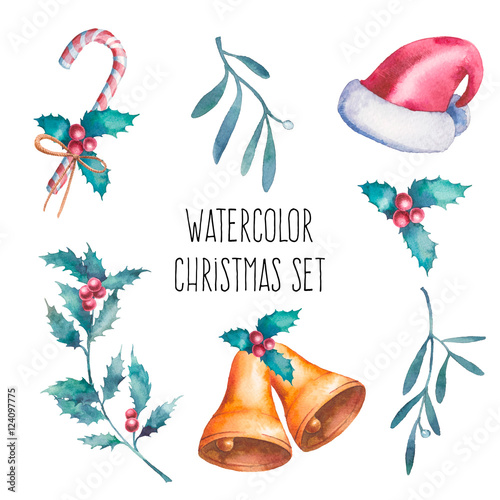 680e6d14caa85 Watercolor Christmas set. Hand painted objects isolated on white  background  santa claus red hat