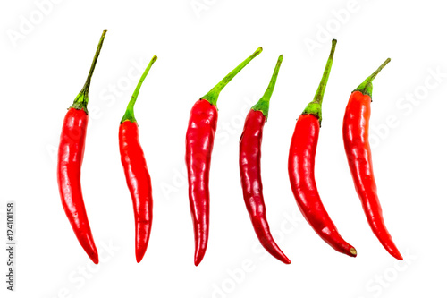 Red chilli pepper isolated on white background, Clipping path included.
