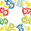 card template, funny green blue pink orange monkey, yellow bananas, boys and girls on white background. Vector