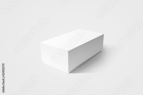 Plain white carton product box mockup, side view, clipping path ...