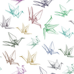 Fototapeta Japanese Origami paper cranes symbol of happiness, luck and longevity, sketch seamless pattern. purple blue brown green line on white background. Vector