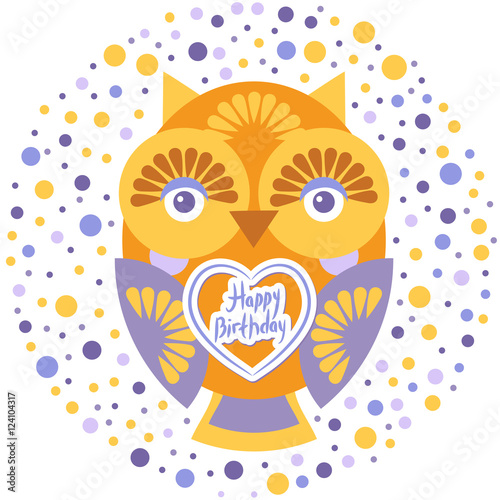happy birthday, Funny colorful owl on white background card ...