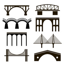 Set Of Eight Stylized Images Of Bridges. Black Silhouettes Of Bridges Of Different Styles On A White Background. Arch, Cable-stayed, Hanging, Rail Bridges, Viaduct.