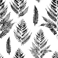 Fototapeta Seamless pattern with paint prints of fern leaves