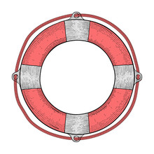 Lifebuoy. Red White Lifesaving Device. Hand Drawn Colored Sketch.