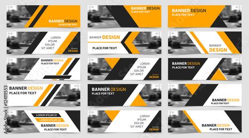 Big set of horizontal business banner templates. Modern technology design