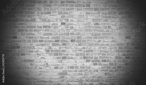 Garden Poster Brick wall Old brick wall black and white in vignette with copy space.