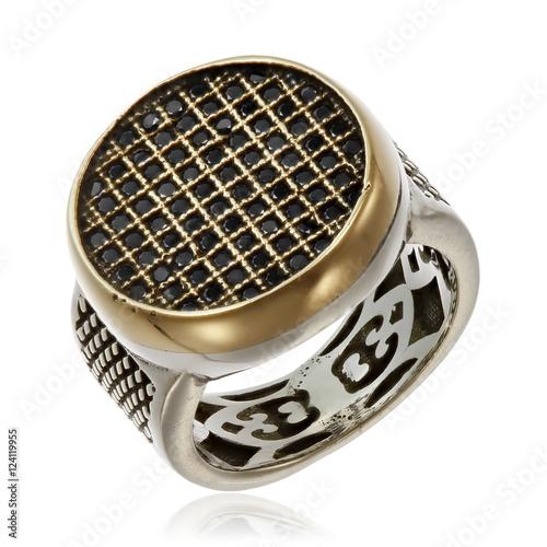 Fototapeta  Silver ring with black zirconium stones