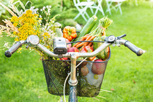 Bicycle Basket Filled With Fre...